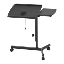ORE International - 1.6 ft. Casual Laptop Adjustable Desk - This contemporary and stylish laptop desk with a build-in fan cooler is designed with adjustable height (25-39 inches) and table surface angle great for a wide range of laptops and electronic tablets. With two separate table sides, this desk can be used for multiple purposes making it convenience to use in the office or at home. The uniquely designed frame is built to use in the bedroom or even expanding space over and around your desk; 4 wheels made easily for mobility with secured and tight safety locks to keep the desk in place when needed . Durable and sturdy black matte finish for the base and the classic composite black wood tables compliment perfectly together . 30 in. L x 16 in. W x 25 in. H (15 lbs.)