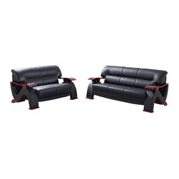 Global Furniture USA - U2033 Black Bonded Leather Three Piece Sofa Set With Mahogany Arms - The U2033 sofa set works with any decor and will have you relaxing in modern comfort. This sofa set comes upholstered in a beautiful black bonded leather in the front where your body touches. Carefully chosen match material is used on the back and sides where contact is minimal. High density foam is used within the cushions for added comfort. Each piece features wooden arms with a stunning mahogany finish that adds to the overall look. The sofa set includes a sofa, loveseat, and chair only.