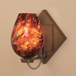 Bruck Lighting Systems - Bolero Bronze One-Light Diamond Wall Sconce with Autumn Leaf Glass - -Free-blown glass that receives its shape directly out of the furnace. This Artisan process, executed by only Master Glass Blowers, guarantees each piece is one of a kind.  -May be mounted as an up-light or a down-light.  -75W dimmable electronic transformer is included on the mounting plate.  -120V AC 50/60Hz input . 11.7V AC output.  -May be mounted as a square or at a 45 degree angle to create a diamond shape. -The stunning glass from Bruck Lighting is hand blown in various locations across the globe, including Italy, Austria, Germany and the United States. �The pattern and color variations make each piece unique. Bruck Lighting Systems - 101337BZ