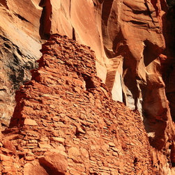 PrintedArt - Ancient Anasazi Cliff Dwelling ruins - Print is made with archival pigment inks for best color saturation and contrast with a 75-year guarantee against fading or discoloring. Mounted on light-weight but rigid aluminum dibond board to create a float-on-the-wall piece of art. Also available face-mounted with acrylic.