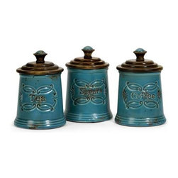 Provincial Canisters - Set of 3 - Adorable Teal glazed ceramic provincial coffee, tea, sugar canisters with mango wood lids