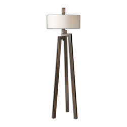 Uttermost - Mondovi Modern Floor Lamp - Illuminate your favorite modern setting with this unique floor lamp. The tripod base of hand-forged, brushed bronze metal lofts a simple white linen shade for a modern and elegant silhouette.