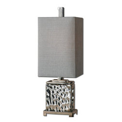 Uttermost - Bashan Nickel Lamp - People who live in glass houses will appreciate the modernistic attitude of this cool lamp. It's made of nickel-plated water glass that almost appears to undulate for plenty of texture and movement.