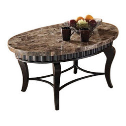 """ACMACM80068 - Galiana Oval Brown Marble Top Coffee Table with Metal Scalloped Edge and Legs - Galiana Oval Brown Marble Top Coffee Table with Metal Scalloped Edge and Legs. Coffee table measures 47"""" x 31"""" x 30""""H. End table and sofa table sold separately. Some assembly required."""