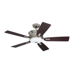Emerson - Emerson Highgrove Ceiling Fan in Brushed Steel - Emerson Highgrove Model EM-CF990BS in Brushed Steel with Dark Mahogany Finished Blades.