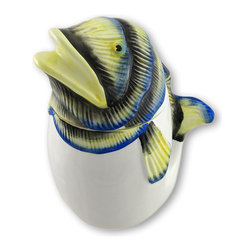 Zeckos - Ceramic Tropical Fish Canister - A fish for everything This whimsical tropical fish canister is perfect for holding tea bags, coffee, sugar or even just loose change It's a decorative piece all on its own It's made from ceramic and hand-painted in muted yellow, blue and black with a white body. It stands 8 3/4 inches high, is 6 1/2 inches long and 5 inches wide. A whimsical accent in the kitchen, dining room or even the bathroom It's a great gift for those who have 'everything'