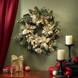 24 in. Golden Poinsettia Wreath - For those of us who believe that the year's golden season is autumn we give you the 24 in. Golden Poinsettia Wreath. A precious combination of flowers pines and cones this wreath is a classic decorative piece year after year.About Nearly Natural Inc.For over 75 years Nearly Natural Inc. has been providing conscientious consumers with beautiful alternatives to natural decorations. Employing and advised by naturalists who understand the live plant world Nearly Natural is able to recreate the most realistic-looking decorative items for homes offices and businesses. Driven by a true commitment to customer service attention to detail and natural philosophy Nearly Natural strives to bring customers the most beautiful unique and striking faux fauna and flora on the market.