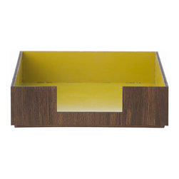 Letter Tray, Yellow - I love a modern wood desk tray for papers that pile up.