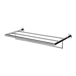 Geesa - Chrome Towel Rack or Towel Shelf with Towel Bar - Contemporary style wall bath towel shelf with towel bar. Shower wall towel rack and bar made out of brass in a polished chrome finish. Bath shelf easily mounts with screws. Made in the Netherlands by Geesa. Wall bath towel shelf with towel bar. Contemporary design. Made out of brass. Polished chrome finish. Mounts easily to wall with screws. From the Geesa Nemox Collection.