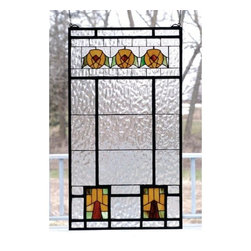 """Meyda Tiffany - Meyda Tiffany 68104 Stained Glass Tiffany Window Arts & Crafts Collecti - 18"""" W X 32"""" H Aurora Dogwood WindowArts And Crafts Inspired Dogwood Trees And Flowers Of Bark Brown, Amber Honey And Woodland Green Accent The Clear Flemish Textured Glass WindowIncludes Mounting Brackets and Chains"""