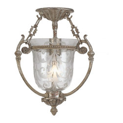 Crystorama - Crystorama Camden Bowl Pendant Light in Antique Silver - Shown in picture: Clear Etched Glass Flush Mount; Camden Collection offers a mix of traditional bell jar lanterns - flush and semi flush mounts.