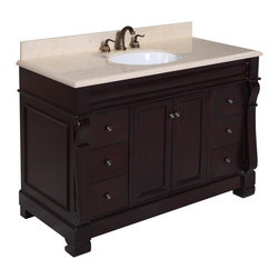 Kitchen Bath Collection - Westminster 48-in Bath Vanity (Travertine/Chocolate) - This bathroom vanity set by Kitchen Bath Collection includes a chocolate cabinet with soft close drawers and self-closing door hinges, travertine countertop with stunning beveled edges, single undermount ceramic sink, pop-up drain, and P-trap. Order now and we will include the pictured three-hole faucet and a matching backsplash as a free gift! All vanities come fully assembled by the manufacturer, with countertop & sink pre-installed.