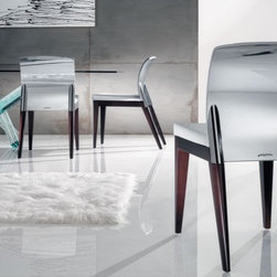 Designed by Pininfarina for Reflex/Angelo - Sit Dining Chair - Chair with structure in beechwood, in cherrywood, Italian walnut or wenge finish, or in matte black lacquer, available with two arms, one right-hand or left-hand arm, or without arms. Back in brushed aluminum or shiny chrome. Covering in Glore Valcana or in leather.