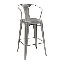"""Crosley Furniture - Crosley Furniture Amelia Metal Cafe Barstool w/ Back in Galvanized - Set of 2 - Originally made famous in the quaint bistros of France, these midcentury replicas of original Cafe seating will offer a dose of nostalgia combined with careful consideration for your wallet.  This inspired revival evokes a sense of a true vintage find. The Amelia collection is available in a variety of colors, including our unique galvanized finish. This raw steel look is hand-prepared to enhance the inherent tones of the metal. Designed to acquire an aged patina, the galvanized finish will naturally rust over time, giving it a unique industrial """"relic"""" look. (Sold in Pairs)"""