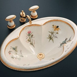 "KOHLER - KOHLER K-14271-WF-96 Prairie Flowers Design on Cantata Self-Rimming Lavatory - KOHLER K-14271-WF-96 Prairie Flowers Design on Cantata Self-Rimming LavatoryPrairie Flowers was inspired by 18th-century dinnerware created for Catherine the Great. Danish botanical life of that time has been translated into prairie flora with accompanying Aldo Leopold prose, all on a soft background of Biscuit. This design on the Cantata lavatory elevates your bath or powder room to extraordinary beauty. For self-rimming installation, the lavatory blends a spacious basin size with elegant, sculptural detailing. This model can be installed with a single-hole or widespread faucet with a minimum 4-5/8"" spout length.KOHLER K-14271-WF-96 Prairie Flowers Design on Cantata Self-Rimming Lavatory, Features:• 25-1/4""L x 17""W"