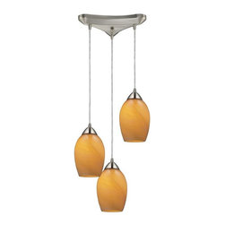 Elk Lighting - Elk Lighting 10222/3mel Favela Transitional Multi Light Mini Pendant Light - Elk Lighting 10222/3mel Favela Transitional Multi Light Mini Pendant Light in Satin Nickel