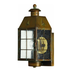 Hinkley Lighting - 2370AS Nantucket Outdoor Wall Light, Aged Brass, Clear Seedy Glass - Nautical Outdoor Wall Light in Aged Brass with Clear Seedy glass from the Nantucket Collection by Hinkley Lighting.