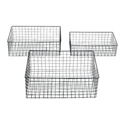 Benzara - Sleek and Modern Inspired Metal Wire Basket Set of 3 Home Accent Decor - Sleek and modern inspired metal wire basket set of three living dining and family room home accent decor