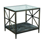 """Hammary - Crossnore Rectangular End Table in Dark Brass/Weathered Wood Finish - """"Revel in the beauty of """"""""Crossnore,"""""""" a newthree-piece transitional collection from Hammary. This is occasional furniture that displays a unique sense of pride in creativity and craftsmanship."""