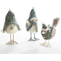 Bundled Up Snowbirds - Set of 3 - New - Baby, it's cold outside, and this trio needs to warm up by the fire, stat! Invite these snowbirds in and let them perch inside your tree or as part of a tablescape. You won't be able to get over how cute they are–you may keep them out through the winter!