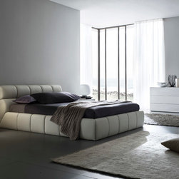 "Cloud bed in beige - The Cloud bed completely covered in leather effect material. Available in queen and king size. Made in Italy. Special price for Houzz users! Use promo code ""houzz"" to get free delivery and 10% off."