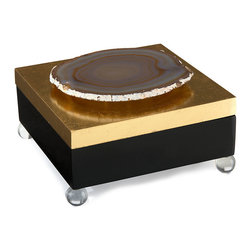 Geode Box - Black and Gold - A slice of gleaming mineral embellishing the lid of the Geode Box coordinates with the smooth glow of ball feet below this lavish statement box's black and gold finishes. Lend copious interest and an upscale mood to a bath by including this box as part of a vanity vignette, or bring its sumptuousness to a pared-down desktop for a concentrated point of glowing luxury.