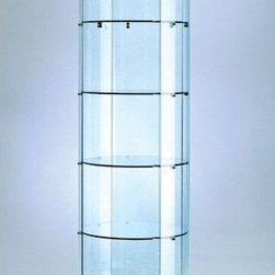 "Tecno Display - Tower Display Cabinet - This round glass tower case will expose your showcased items on a 360 degree display and let you enjoy 11 square feet of elegant display space. Besides having a circular full vision display, this case comes with four 50 watt halogen top lights and the option of additional sidelights and 5 different spaces separated by quarter inch thick glass shelves. Features: -Glass construction. -Four 50 watt halogen top lights with optional sidelights. -Mirror deck. -Locking hinged door (security lock). -Wheels. -Electrical cord with switch. Specifications: -Top canopy: 3"". -Bottom cabinet: 6.25"". -Glass height: 65"". -Weight: 179 lbs."