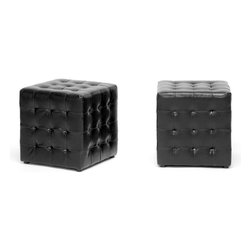 "Baxton Studio - Baxton Studio Siskal Black Modern Cube Ottoman (Set of 2) - Who would have though such a small ottoman could pack such a punch?  The detailed construction of our Siskal Ottoman is rounded out with black faux leather panels stitched together and pulled inward at their intersections, creating the allover tufted look.  The ottoman features a wooden frame, foam padding, black fabric-lined bottom, and black plastic feet.  This style is also offered in red, white, and dark brown (each sold separately).  This ottoman is small, hollow, and relatively lightweight but sturdy.  Made in Malaysia; fully assembled.  To clean, wipe with a dry cloth.Product dimension: 14.25""Wx14.25""Dx14.75""H"