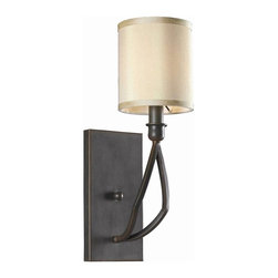 World Imports - 1 Light Wall Sconce w Shade in Rust Finish - Manufacturer SKU: WI 350142. Bulbs not included. Includes hand-made beige hard back shades. Minimalistic design. Geometric shapes. Rust Finish Collection. 1 Light. Power: 60W. Type of bulb: Medium (Regular). Rust finish. 8 in. Ext.. Back Plate. 5 in. W x 16 in. H (5 lbs.)