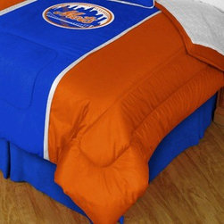 Sports Coverage - MLB New York Mets MVP Micro Suede Comforter and Sheet Set Combo - Queen - Save money off our already low prices by getting the MLB New York Mets MVP Micro Suede Comforter and Sheets together! The MVP Micro Suede Collection is unique in its appeal to both young and more mature tastes. Sporting team colors with sporty double porthole jersey edging, This generous-sized Comforter is made of faux suede coupled with jersey mesh on the sides and sporty double porthole jersey edging that stays colorfast, soft, and wrinkle-free. The comforter also has the team's same color on the other side! It is filled with 100% bonded polyester batting. Machine washable in cold water. Tumble dry in low heat. Microfiber Sheet Set have an ultra-fine peach weave that is softer and more comfortable than cotton! This Micro Fiber Sheet Set includes one flat sheet, one fitted sheet and a pillow case. Its brushed silk-like embrace provides good insulation and warmth, yet is breathable. It is wrinkle-resistant, stain-resistant, washes beautifully, and dries quickly. The pillowcase only has a white-on-white print and the officially licensed team name and logo printed in team colors. Made from 92 gsm microfiber for extra stability and soothing texture. Sheet Sets are plain white in color with no team logo.    Includes:  -  Flat Sheet - Twin 66 x 96, Full 81 x 96, Queen 90 x 102.,    - Fitted Sheet - Twin 39 x 75, Full 54 x 75, Queen 60 X 80,    -  Pillow case Standard - 21 x 30,    - Comforter - Twin 66 x 86, Full/Queen 86 x 86,