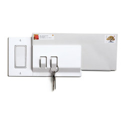 Walhub - 1Keeper // Rocker - How many times have you left the house forgetting to grab the outgoing mail? This integrated light switch cover and storage system helps you remember. The two hooks hold your keys while the clip clamps your mail so that everything is at your fingertips as you turn off the lights and walk out the door.