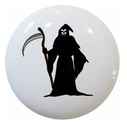 Carolina Hardware and Decor, LLC - Grem Reaper Ceramic Cabinet Drawer Knob - 1 1/2 inch white ceramic knob with one inch mounting hardware included.  Great as a cabinet, drawer, or furniture knob.  Adds a nice finishing touch to any room!