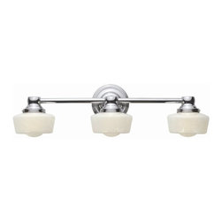 World Imports - Schoolhouse 3 Light Bath Light in Chrome Fini - Manufacturer SKU: WI802308. Bulbs not included. Features cased opal etched glass. Porcelain accents. Chrome Finish. Schoolhouse Collection. 3 Lights. Power: 50w. Type of bulb: Halogen. Chrome finish. 7 in. Ext.. Back Plate 5 in. D. 24 in. W x 6.75 in. H (6 lbs.)