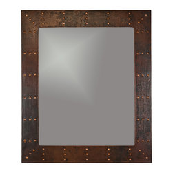 "Premier Copper Products - 36"" Rectangle Copper Mirror w/ Rivets - Uncompromising quality, beauty, and functionality make up this Hand Hammered Copper Rectangle Mirror Frame with Hand Forged Rivets.  Our hand made copper mirrors complement a wide variety of styles and colors."