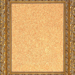 """Framed Cork Board 20"""" x 24"""" - with Ornate Gold Finish Frame - 20"""" x 24"""" framed premium cork board produced to meet designer quality standards. This decorative framed bulletin boards are produced using high-precision framing techniques for a high-quality finished product with an extra thick cork surface. Our progressive business model allows us to offer these practical, yet decorative message boards to you at the best wholesale pricing, significantly less than frame shop corkboards, affordable to all. Great for office, conference room, home, kitchen, scheduling, leaving memos, to-do lists, family schedules, kid's art, photos, mementos, reminders, messages, lists, as an organizer, menu, for writing, drawing, classroom, school teacher, coaching and more. This corkboard is mounted into our 4 1/2"""" wide ornate gold finish frame by one of our expert framers. This framed pinboard comes with hardware, ready to hang on your wall, with the option of hanging horizontally or vertically.  We present a comprehensive collection of exceptional framed cork boards."""