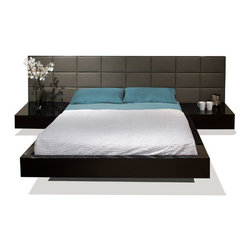 """Sharelle Furnishings - Sharon Platform Bed - The Sharon Bedroom utilizes wood and leather to create an extremely contemporary design. The bed is raised on a slight platform, the modern bed looks to be floating. The bed's white leather headboard brings elegance to any contemporary bedroom. The attached nightstands add to the elegance by creating sleek lines and simple beauty. Features: -Italian style low platform.-Two attached nightstands.-White Leather headboard.-Slats included (no box spring required).-Sharon collection.-Distressed: No.-Collection: Sharon.Dimensions: -Queen: 42""""H x 116""""W x 87""""D.-King: 42""""H x 132""""W x 87""""D.-California King: 42""""H x 128""""W x 91""""D.-Overall Product Weight: 310 lbs."""