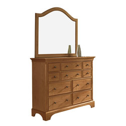 American Drew - American Drew Ashby Park Dressing Chest with Arched Mirror - The Ashby Park collection is a casual, lifestyle collection with multiple options that will help you create the perfect bedroom. The design of the collection is simple, yet full of look. An eclectic mix of colors and materials gives this group the ability to fit into many settings; create a metro, casual, transitional, traditional or even coastal appearance by changing or mixing up the colors and textures. There are five finish options. The three wood tone finishes are Natural, Nutmeg and Peppercorn and the stained colors are Sage and Sea Salt. The semi-transparent finish is accomplished by applying the various colored stains onto the strong grain characteristics of Ash. This allows the wood undertones to naturally add depth and highlights to each piece. The wood tone finishes use a Dark Copper finished knob. The stained colors use a Nickel finished knob. The hardware adds to the simple styling of the pieces. With multiple bed and case piece options, finish and hardware options, Ashby Park is sure to fit the style and needs of many homes.