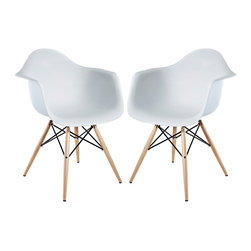 "LexMod - Two Wood Pyramid Armchairs in White - Wood Pyramid Armchairs are crafted out of molded plastic for the seat and a solid wood ""pyramid"" base. Comfortable and versatile, this chair can be used to decorate any space."