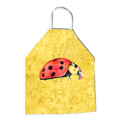 "Caroline's Treasures - Lady Bug on Yellow Apron - Apron, Bib Style, 27""H x 31""W; 100% Ultra Spun Poly, White, braided nylon tie straps, sewn cloth neckband. These bib style aprons are not just for cooking - they are also great for cleaning, gardening, art projects, and other activities, too!"