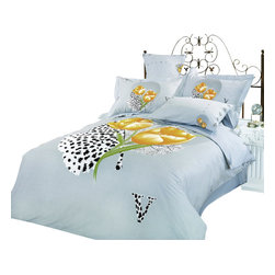 Le Vele - 6 Pc Queen Hayat Duvet Cover Bedding Set - Includes one flat bed sheet, one duvet cover, two pillow cases and two pillow shams. 205 thread count. Imported. Machine washable. Tumble dry. Large floral prints of gold poppies. Light gray backdrop. Abstract black and white leaf watermark accents. Snaps at the foot of the duvet make it easy to insert a comforter. Oversized flat sheet provides versatility. Tucked in or can hang over eliminating the need for a bed skirt. High quality cotton fabric and superior workmanship with fine yarns of satin weaving for wrinkle control. Printed with the latest reactive dyeing technology. Excellent brightness and long lasting colors. Sheets feel soft and inviting. Made from cotton. Flat Bed Sheet: 96 in. L x 71 in. W. Duvet Cover: 87 in. L x 63 in. W. Pillow Cases: 30 in. L x 20 in. W. Flanged Pillow Cases: 32 in. L x 20 in. W
