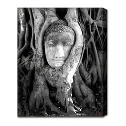 AlignBetween Art | Design - Peace Grows from Within - Buddha Canvas Art Print, Large - Shot in the ancient Thailand capital of Ayutthaya, this head of a Buddha statue in Wat Mahathat has intrigued countless travelers who visit the Ayutthaya Historical Park.  As well, many images and variations of this scene exist, depicting each observer's unique perspective.