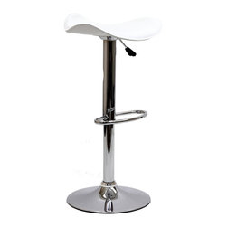 LexMod - Saddle Bar Stool in White - Ride new vistas and conquer all obstacles with this adventure packed bar stool. Gird yourself as an underlying force of light-filled prowess bursts from this pedestal of strength. Celebrate special moments and enliven casual repartee with the Saddle vinyl wave seat and polished chrome base.