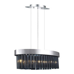 Eglo - Eglo 20707A 5 Light 1 Tier Chandelier Faenza Collection - (Bulbs Includ - Eglo 20707A Faenza 5 Light 1 Tier ChandelierDare to be different with this chandelier from the Faenza Collection. Featuring Oval Shaped Smoked Glass forming a curtain hanging from Chrome Finish hardware, this fixture is sure to become the central focus of any room and the topic of conversation for your guests.Eglo 20707A Features: