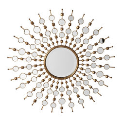 Solstice Mirror - Z Gallerie's outstanding Solstice mirror decorates a wall with a burst of brilliant Silver mirror and Gold leaf. Rays of burnished Gold leafed metal emanate from an 11 inch round bevelled mirror at the center, and are embellished with smaller round mirrors and Gold detailing.