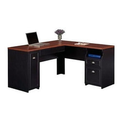 Bush - Bush Fairview L-Shaped Wood Computer Desk in Black - Bush - Computer Desks - WC53930K - Enhance your home or workplace office space with a versatile black wood computer desk. Choose the Bush Furniture Fairview L-Shaped Wood Computer Desk and add an element of antique charm. A two-tone color scheme and a subtle distressed finish with molding accents make this a uniquely distinctive desk.