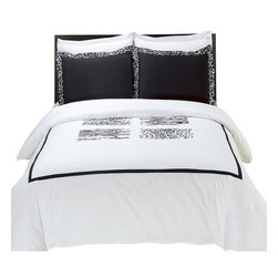 Bed Linens - Burbank Embroidered Multi-Piece Duvet Set King-California King - You are invited to experience the comfort, luxury and softness of our luxurious Embroidered duvet covers. Silky Soft made from 100% Egyptian cotton with 300 Thread count woven with superior single ply yarn. Quality linens like this one are available only at selected Five Stars Hotels.