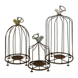 """IMAX - Louise Birdcage Candleholders - Set of 3 - Add some cheer to garden decor with these fun birdcage pillar candleholders. Iron bars and candle base are topped with brightly colored birds. Set of 3. Item Dimensions: (9-12-15""""h x 6-7-7.75"""")"""
