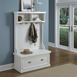 HomeStyles - Distressed White Hall Tree - Give your home a cozy, inviting atmosphere with the Nantucket Hall Tree. It's sanded worn edges and distressed white finish provides the casual elegance that's great for any home decor style. The Nantucket Kitchen Cart is constructed of hardwood solids and engineered wood. Finishing process includes paint specking on the sanded and distressed finish providing a weathered look. Features include two pigeon hole open storage areas at the top, four double hooked coat rings, and a lower storage compartment. Beautifully accented with antiqued brushed nickel hardware. 40 in. W x 18.5 in. D x 64.25 in. H