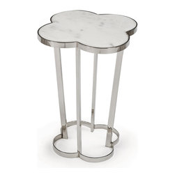 Kathy Kuo Home - Lansbury Hollywood Marble Top Silver Metal Clover End Table - Lucky you! This end table's clover shaped marble top echoes the sleek chromed base, combining classic and contemporary materials in an appealing union. By your bedside, this accent table will make your room feel like a starlet's dressing room.