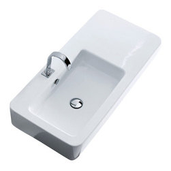 "WS Bath Collections - Ego 3244 Ceramic sink 35.4"" x 16.9"" - Hung on a wall, this sink floats in space. Installed on a counter, it inspires. The sleek lines, clean design and contemporary feel will take your bathroom into another dimension."